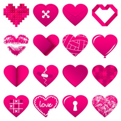 Vinilo 16 Abstract Pink Hearts