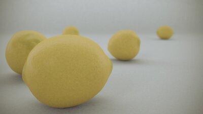 Vinilo 3 D rinden de limones amarillos sobre un fondo blanco cayó del aire y rodó sobre la superficie infinita blanco.
