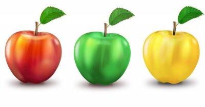 Vinilo 3 manzanas rojas, verdes, amarillas, opcional
