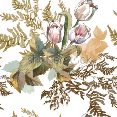 Vinilo 3 tulipanes blancos y acuarela de hierba en patrón transparente de fondo blanco para telas, papel