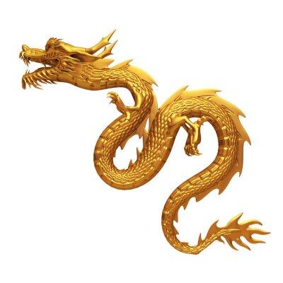 Vinilo 3d del dragón de oro