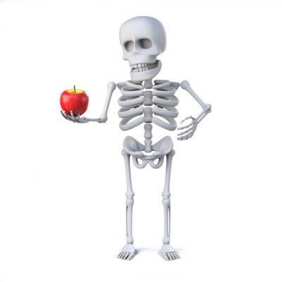 Vinilo 3d esqueleto ha traído una manzana para el profesor