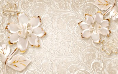 Vinilo 3d illustration, beige ornamental background, large white abstract gilded flowers