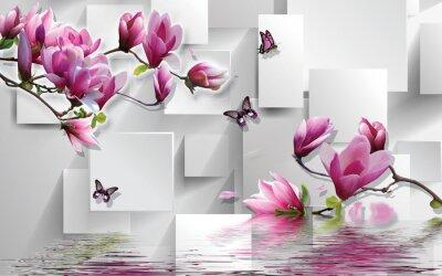 Vinilo 3d illustration, light background, rectangles, butterflies, magnolia