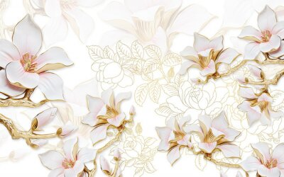 Vinilo 3d illustration, light background with the contours of peonies, large gilded pink magnolia flowers