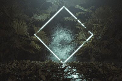 Vinilo 3d rendering of blue lighten square shape with light beam surrounded by palm leaves