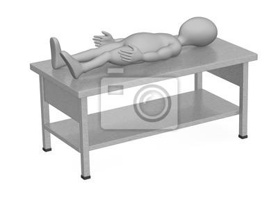 Vinilo: 3d rinden de personaje de dibujos animados con muebles de cocina