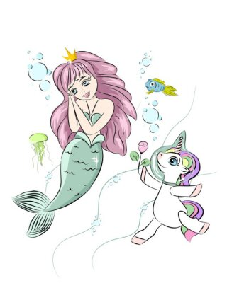 Vinilo A beautiful mermaid and a unicorn. The unicorn swims with a mermaid and gives her a flower. Postcard with a mermaid. Style doodle. Print for t-shirts and baby clothes, cards, posters and any design.
