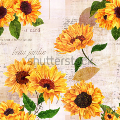 Vinilo A seamless pattern with hand drawn vibrant yellow watercolor sunflowers on the background of old letters, postcards, and newspaper scraps mockups, vintage style floral repeat print