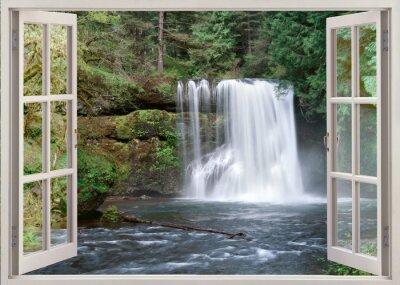 Vinilo Abrir vista de la ventana a la Alta Notrh Falls y el río