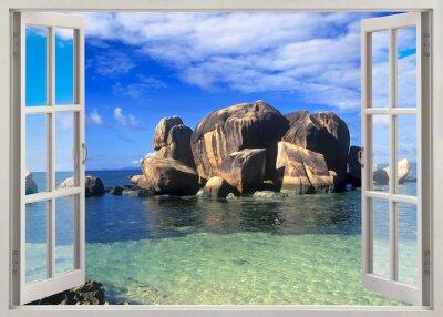 Vinilo Abrir vista de la ventana a la orilla de las Seychelles