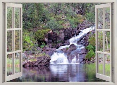 Vinilo Abrir vista de la ventana de la cascada de la montaña y el estanque