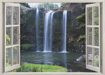Vinilo Abrir vista de la ventana de Whangarei Falls, tierra del norte (Norte de Islandia), Nueva Zelanda