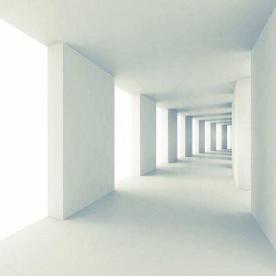 Vinilo Abstract architecture 3d background, empty white corridor