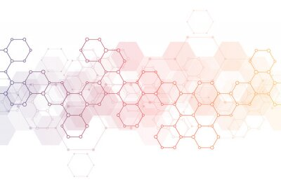 Vinilo Abstract background of science and innovation technology. Technical background with hexagons pattern and molecular structures.