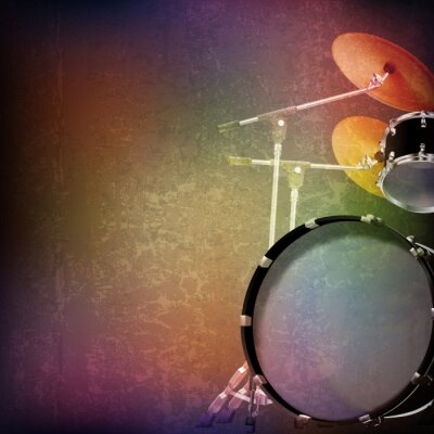 Vinilo abstract grunge background with drum kit