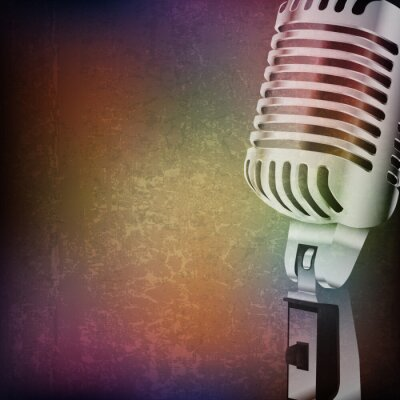 Vinilo abstract grunge background with retro microphone