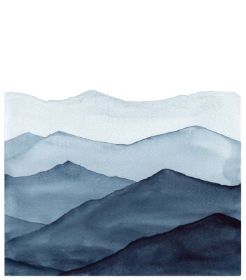 Vinilo abstract indigo blue watercolor waves mountains on white background