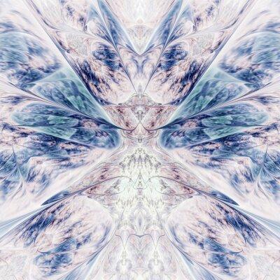 Vinilo Abstract intricate symmetrical rose and blue ornament. Fantastic fractal design. Psychedelic digital art. 3d rendering.