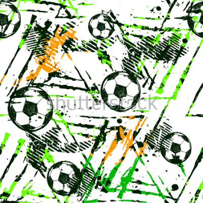 Vinilo Abstract seamless football pattern. Sport game wallpaper. Set of Soccer ball on grunge urban background,curved lines, shabby shape texture,  spray paint ink elements. boy repeated backdrop