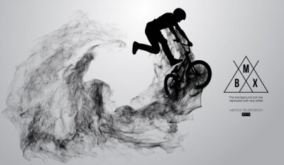 Vinilo Abstract silhouette of a bmx rider on the white background from particles, dust, smoke, steam. Bmx rider jumps and performs the trick. Background can be changed to any other. Vector illustration