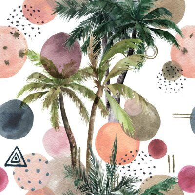 Vinilo Abstract tropical pattern with palm trees. Watercolor seamless print. Geometric summer background