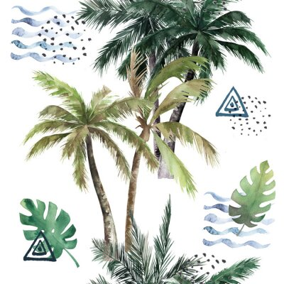 Vinilo Abstract tropical pattern with  palm trees. Watercolor seamless print. Jungle summer  background