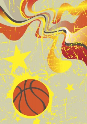 Vinilo Abstract vertical basketball banner with yellow stars