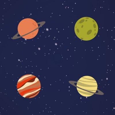 Vinilo Abstracto dibujos animados planetas