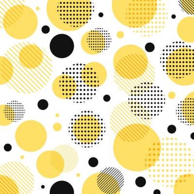 Vinilo Abstracto moderno amarillo, patrón de puntos negros con líneas en diagonal sobre fondo blanco.