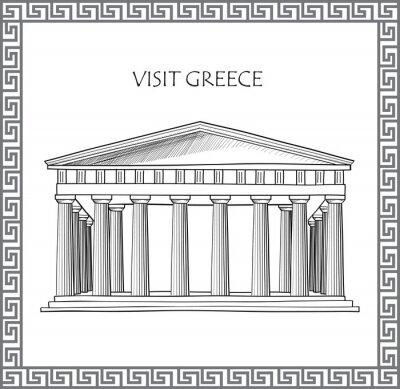 Vinilo Acrópolis de Atenas, Grecia. Visita Grecia tarjeta. Ornamental del vector del marco tradicional griego.