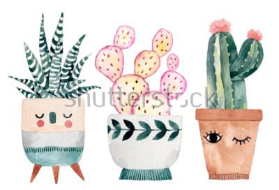 Vinilo Acuarela a mano ilustración con cactus y suculentas. Plantas de casa verde ilustraciones. Macetas para plantas de Linda.