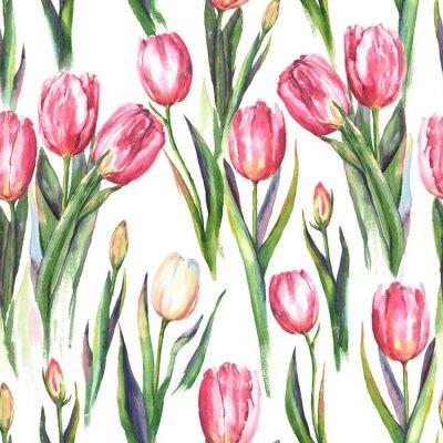 Vinilo Acuarela a mano patrón sin fisuras con flores de tulipanes de color rosa y blanco. Impresión repetida del resorte para el textil, papel pintado. Tierno y hermoso fondo
