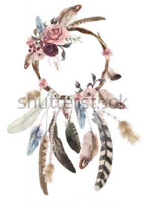 Vinilo Acuarela aislada decoración bohemio atrapasueños, decoración de plumas boho, diseño nativo y chic, estampado tribal étnico misterioso, diseño de la cultura americana, ornamento gitano, atrapasueños