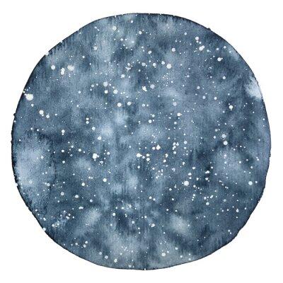 Vinilo Acuarela círculo backround de un cielo nocturno