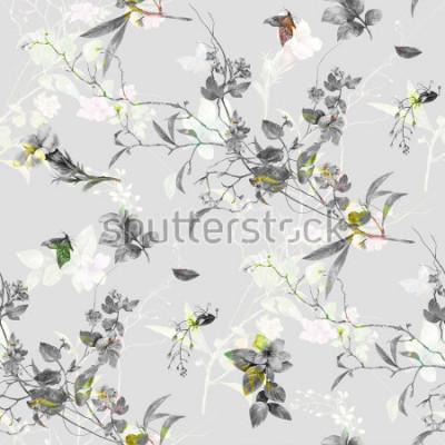 Vinilo Acuarela de hojas y flores, de patrones sin complicaciones sobre fondo gris