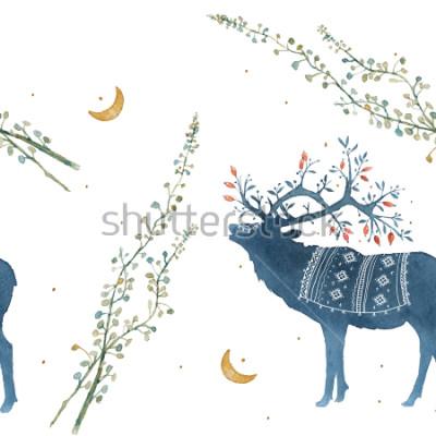 Vinilo Acuarela de patrones sin complicaciones con elementos escandinavos ramas, hojas de hierba.