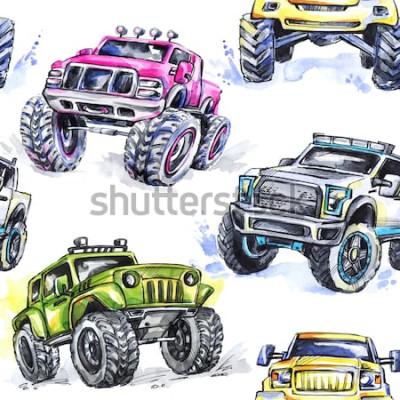 Vinilo Acuarela de patrones sin fisuras Cartoon Monster Trucks. Colorido fondo de deportes extremos. 4x4. Vehículo SUV Off Road. Estilo de vida. El hobby del hombre.