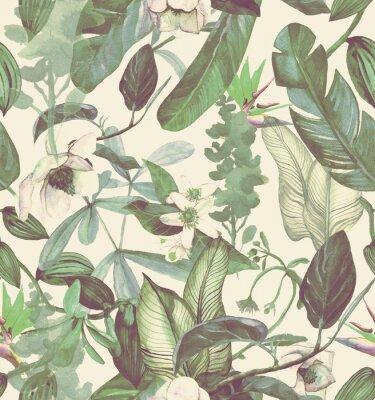 Vinilo Acuarela de patrones sin fisuras con flores tropicales, magnolia, flor de naranja, orquídea vainilla, hojas tropicales, hojas de plátano