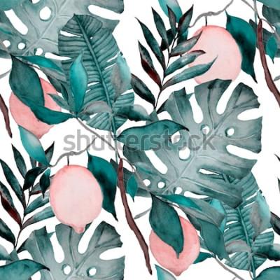 Vinilo Acuarela de patrones sin fisuras con hojas tropicales y cítricos. Impresión botánica de moda.