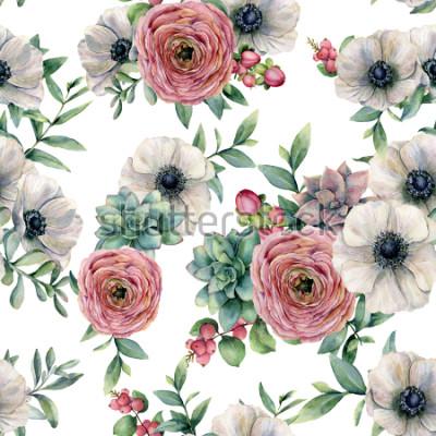 Vinilo Acuarela de patrones sin fisuras con suculentas, ranunculus, anémona. Flores pintadas a mano, hojas de eucaliptus y suculentas ramas aisladas sobre fondo blanco. Ilustración para diseño, impresión o f