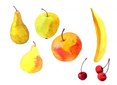 Vinilo Acuarela dibujo frutas
