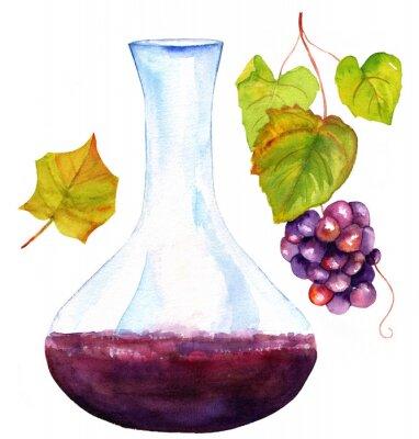 Vinilo Acuarela dibujos de vino decantador, hoja de vid y uvas
