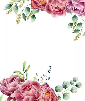 Vinilo Acuarela floral tarjeta aislada sobre fondo blanco. El posy del estilo del vintage fijó con las ramas, el peony, las bayas, el verdor y las hojas del eucalipto. Diseño pintado a mano de la flor