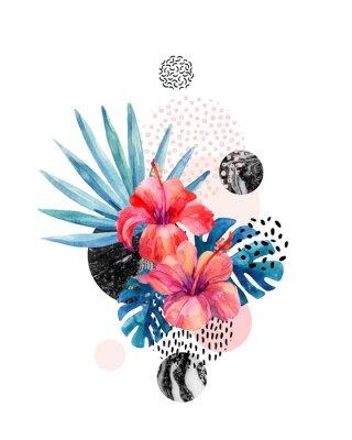 Vinilo Acuarela flores tropicales sobre fondo geométrico con marmoleado, garabatear texturas