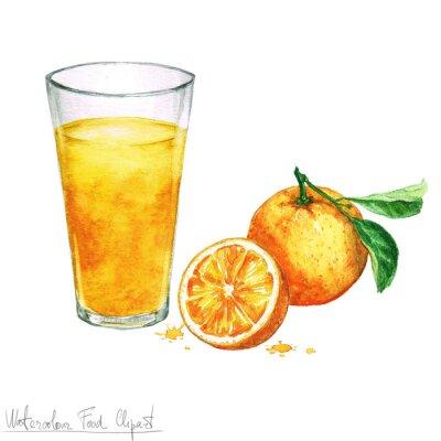 Vinilo Acuarela Food Clipart - naranja, jugo, aislado, blanco
