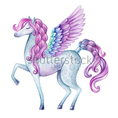 Vinilo Acuarela ilustración de Pegaso, criatura de cuento de hadas, semental volando, mágico animal clip art, aislado sobre fondo blanco
