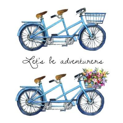 Vinilo Acuarela ilustración de una bicicleta tándem