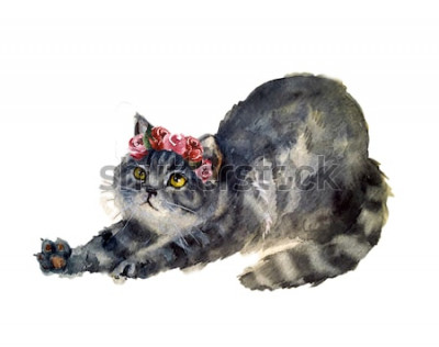 Vinilo Acuarela lindo gato con flores