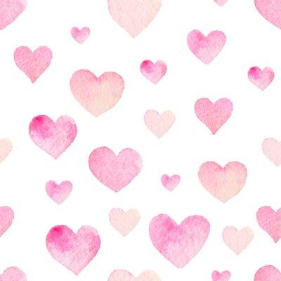 Vinilo Acuarela Modelo inconsútil del vector con los corazones para San Valentín